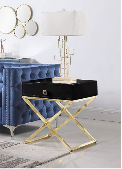 Black Napier Golden Nightstand/Side Table