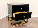 BLACK DELMAS GOLDEN NIGHTSTAND / SIDE TABLE