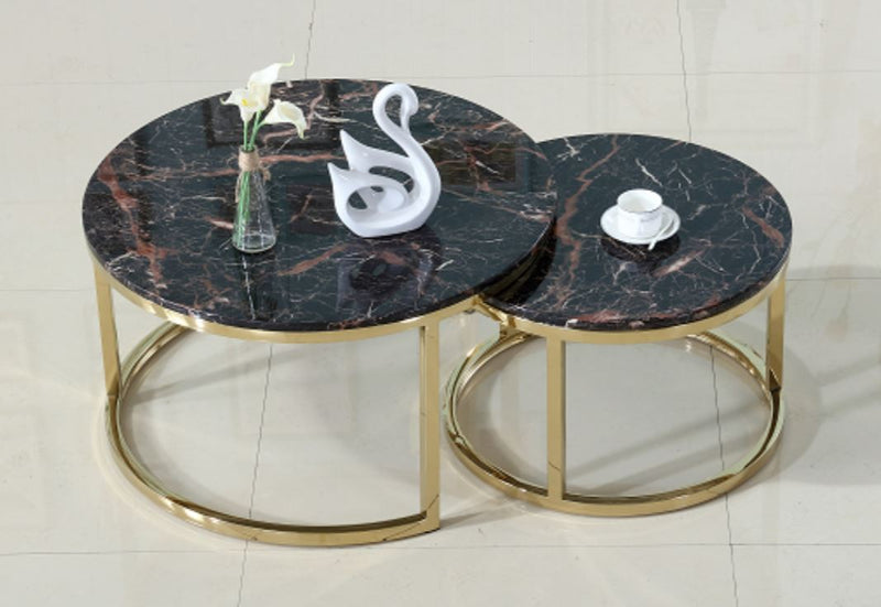 Black Coventry Golden Legs Nesting Tables