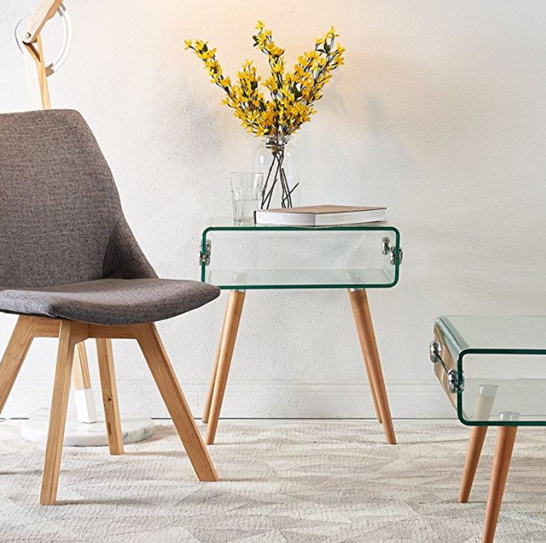 Cassette Bent Glass Side Table