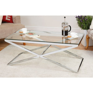 ZIG ZAG STAINLESS STEEL COFFEE TABLE