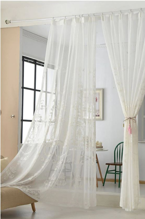 Kraftsmen Embroidered White Sheer Curtains
