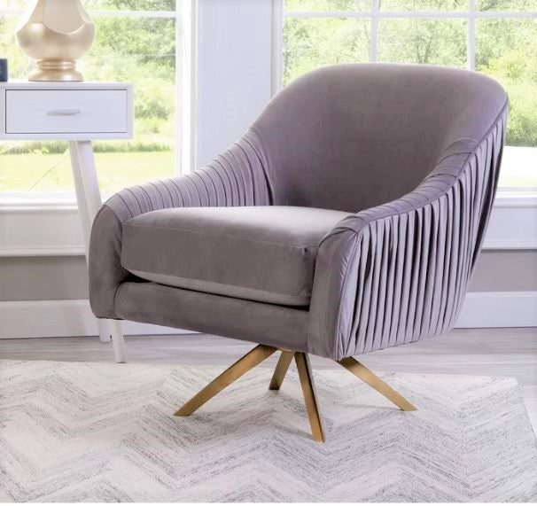 Mercury Velvet Golden Swivel Armchair