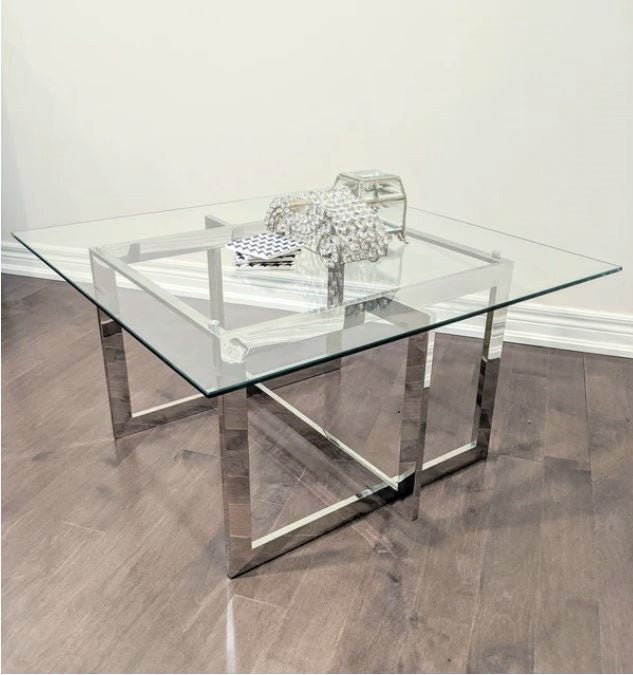 Murrey Square Stainless Steel Chrome Coffee Table