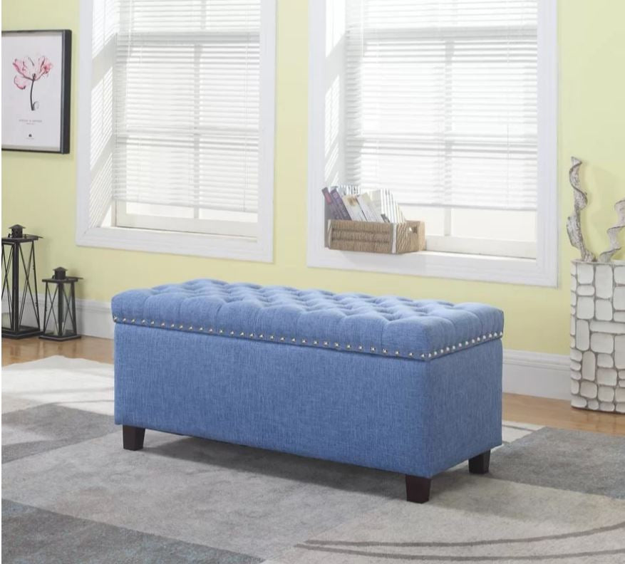 LIGHT BLUE OTTOMAN WITH STORAGE