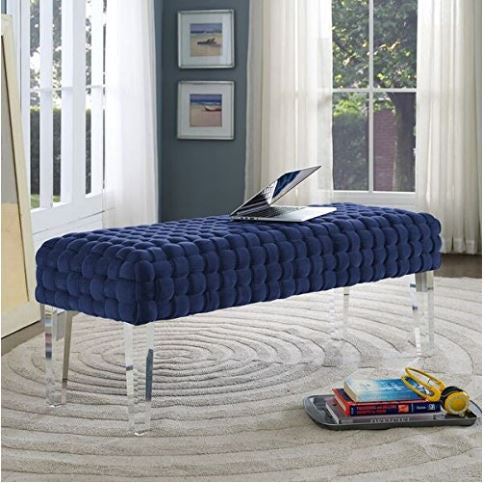 Savana Golden and Velvet Upholstered Bench