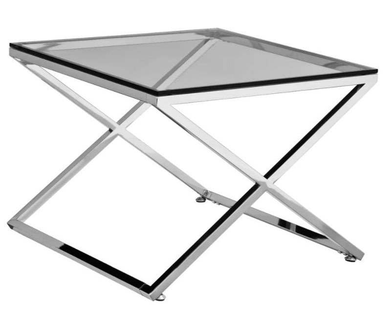 STAINLESS STEEL SILVER ZIG ZAG SIDE TABLE