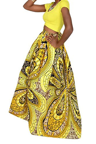 36bdd01e5 Choice Women African Floral Print Pleated High Waist Maxi Skirt Casual A  Line Skirt(Purple