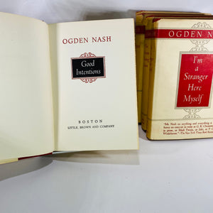 Set of Five Ogden Nash Books 1945 Little Brown & Co-Reading Vintage