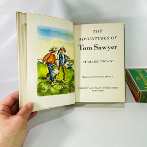 2 Books Adventures of Tom Sawyer & Huckleberry Finn 1948-Reading Vintage