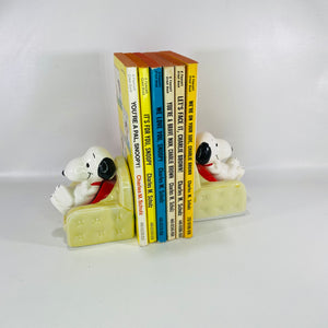 Snoopy Bookends Sitting in Chair Charles M Schulz 1966-Reading Vintage