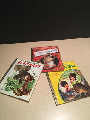 3 Little Golden Books, The Littlest Raccoon-1961, The Saggy Baggy Elephant-1969, A Vintage Book