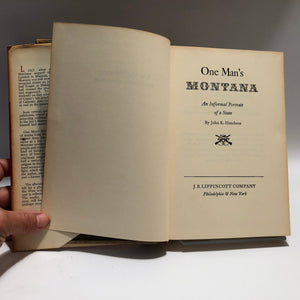 One Man's Montana An Informal Portrait of a State by John K. Hutchens 1964 First Edition Book Vintage Book