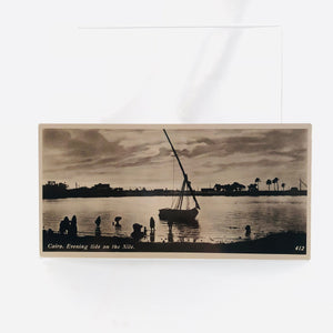 Postcard Souvenir of Egypt, Cairo, Evening Tide on the Nile, 1940's Era Series H Number 412