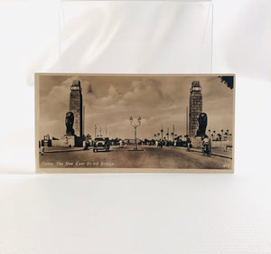 Postcard Souvenir of Egypt, Cairo, The New Kasr El-Nil Bridge 1940's Era Series H Number 413