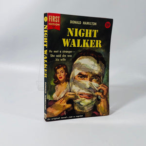 Vintage Paperback Night Walker by Donald Hamilton 1954 First Edition Cover Painting by Carl Boberetz Dell Book Number 27