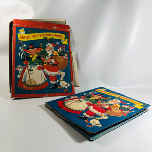 Vintage Pop up Book Santa Visits Mother Goose Published by 1953 White Plains Greeting Card Corp