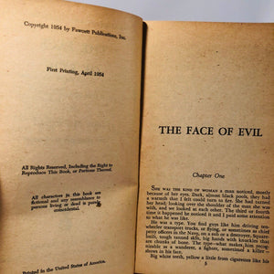 Vintage Paperback The Face of Evil by John McPartland Gold Medal Book Number 393 First Edition 1953 Cover Painting Ray Johnson
