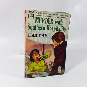 Vintage Paperback Murder with Southern Hospitality by Leslie Ford 1940 Cover Painting by Bob Stanley A Dell Book Number 505