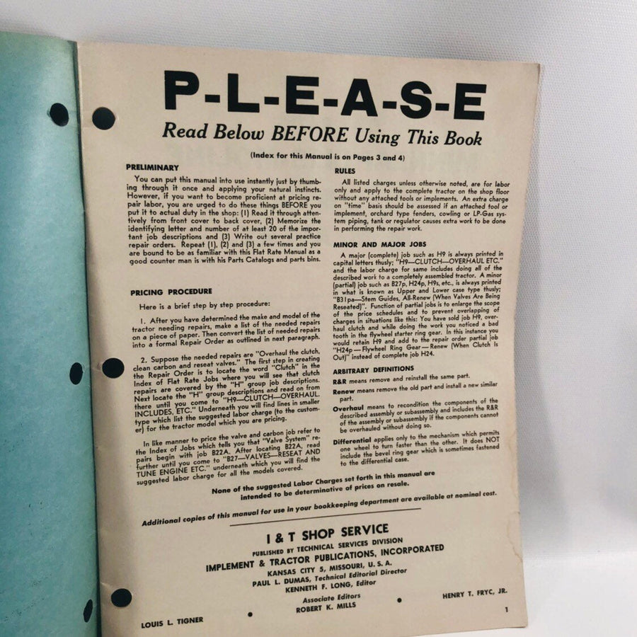 I&T Shop Service Flat Rate Manual No MM-9 Minneapolis-Moline 1959
