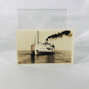 Vintage Photo Postcard Souvenir of Michigan State Ferry The Straits of Mackinac Mackinaw City Michigan