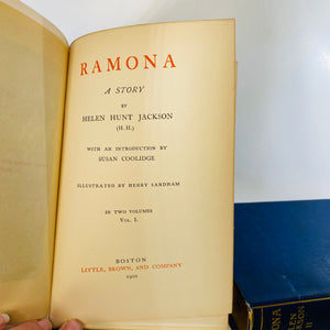 Ramona A Story by Helen Jackson In Two Volumes 1900-Reading Vintage