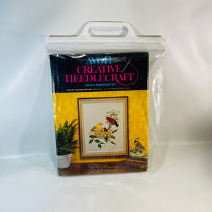 Avon Creative Needlecraft Crewel Embroidery Scarlet Tanagers Picture  Kit 1974