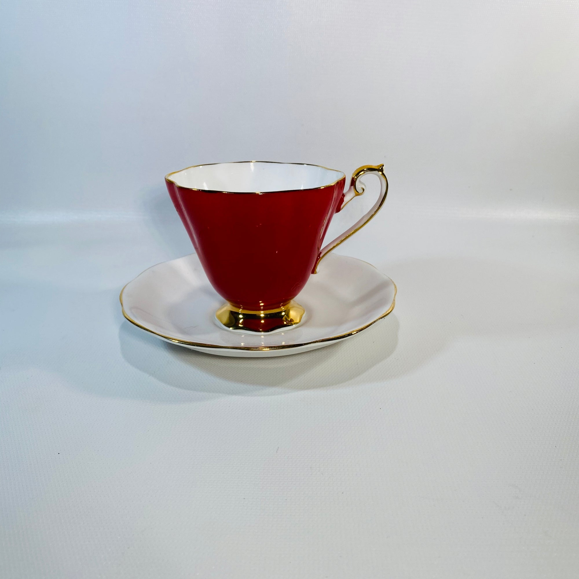Red Royal Standard Fine Bone Footed Teacup & Saucer-Reading Vintage