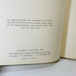 Les Sculptures De Picasso by Daniel H Kahnweiler 1949 Printed in France Edition No.269