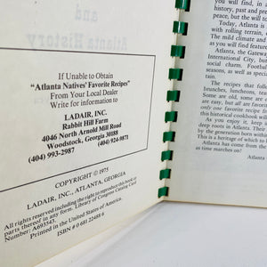 Atlanta Natives Favorite Recipes by Frances Elyea 1975-Reading Vintage