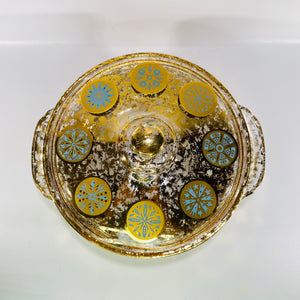 Fire King 2 Quart Covered Casserole Dish Designed by Georges Briard Gold & Aqua Medallion