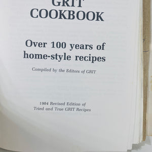 Grit Cookbook by the Editors of Grit Spiral bound 1984-Reading Vintage