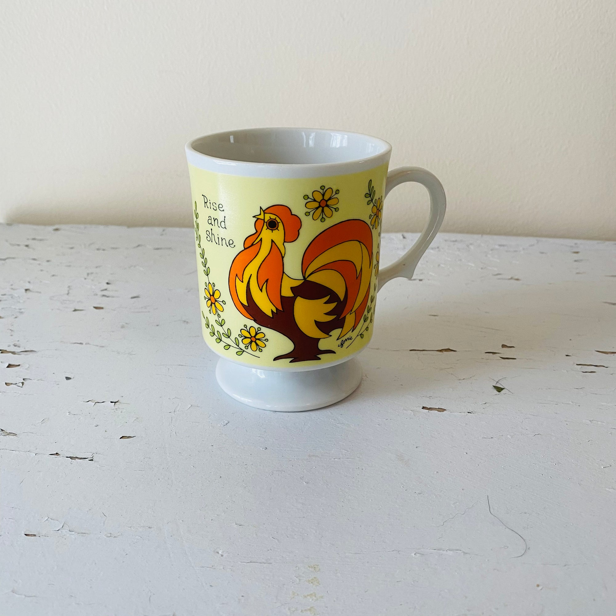 4 Vintage Rooster Footed Coffee Mug Rise & Shine 70s-Reading Vintage