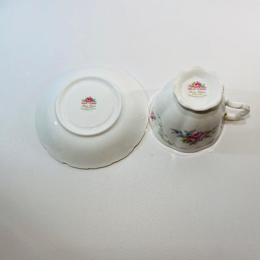 Royal Albert Tea Cup Set Tranquility Floral Bone China-Reading Vintage