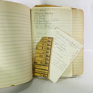 Handwritten Notebook with Vintage Recipes & Newspaper Clippings