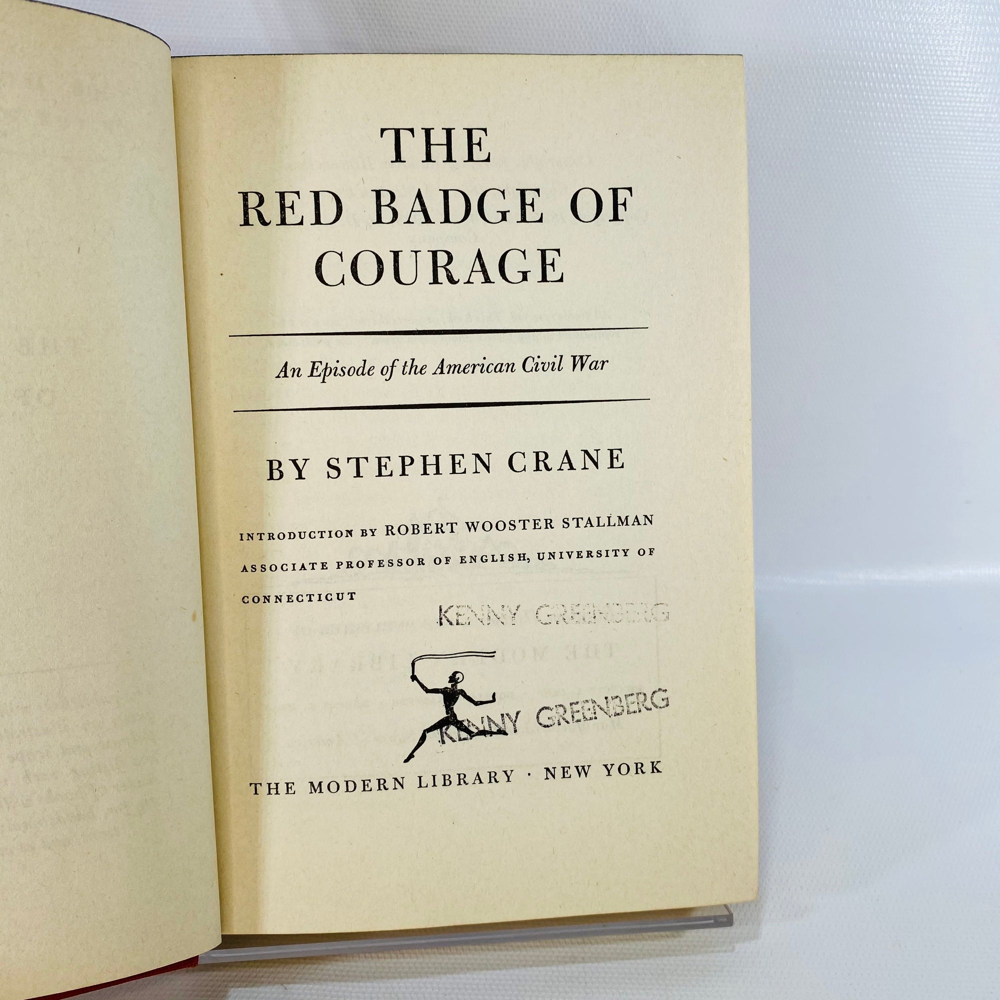 Red Badge of Courage Stephen Crane 1951 Modern Library-Reading Vintage