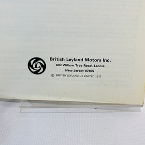 MGB Drivers Handbook 1977 for MGB Convertible GHN 56UH-Reading Vintage