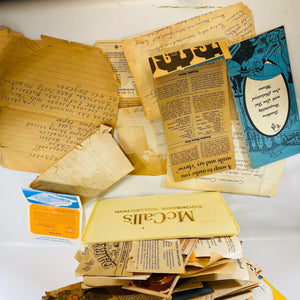 Vintage Recipe MCCall's Plastic Container Packed Full of Handwritten Newspaper Clippings & Typed
