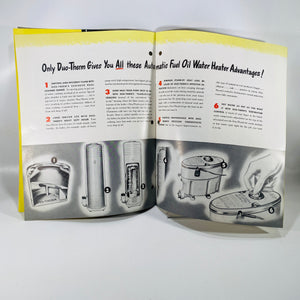 Advertising Pamphlet for Duo-Therm Fuel Oil Water Heaters by The Motor Wheel Corp 1948
