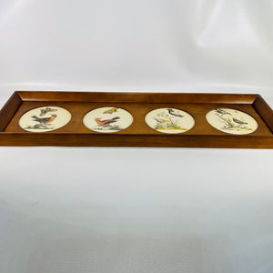 Unique Vintage Wood Framed Bird Picture with Four different Birds with Insects