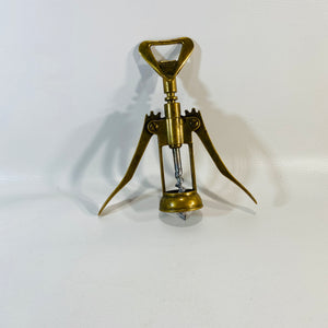 Vintage Italian Brass Wine Bottle with Corkscrew Opener