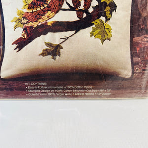 Avon Crewel Embroidery Kit Owl Mates Pillow 1973 New Old Stock