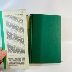 An Essay Concerning Human Understanding by John Locke No 984 Everyman's Library 1959