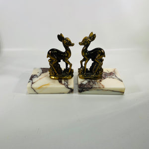Vintage Brass and Marble Deer Bookends-Reading Vintage