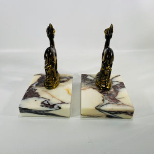 Vintage Brass and Marble Deer Bookends