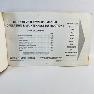 Chevy II 1967 Owners Manual General Motors Corporation-Reading Vintage