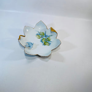 Vintage Blue Floral Leaf Shape Ring Dish w/Bird Gold -Reading Vintage