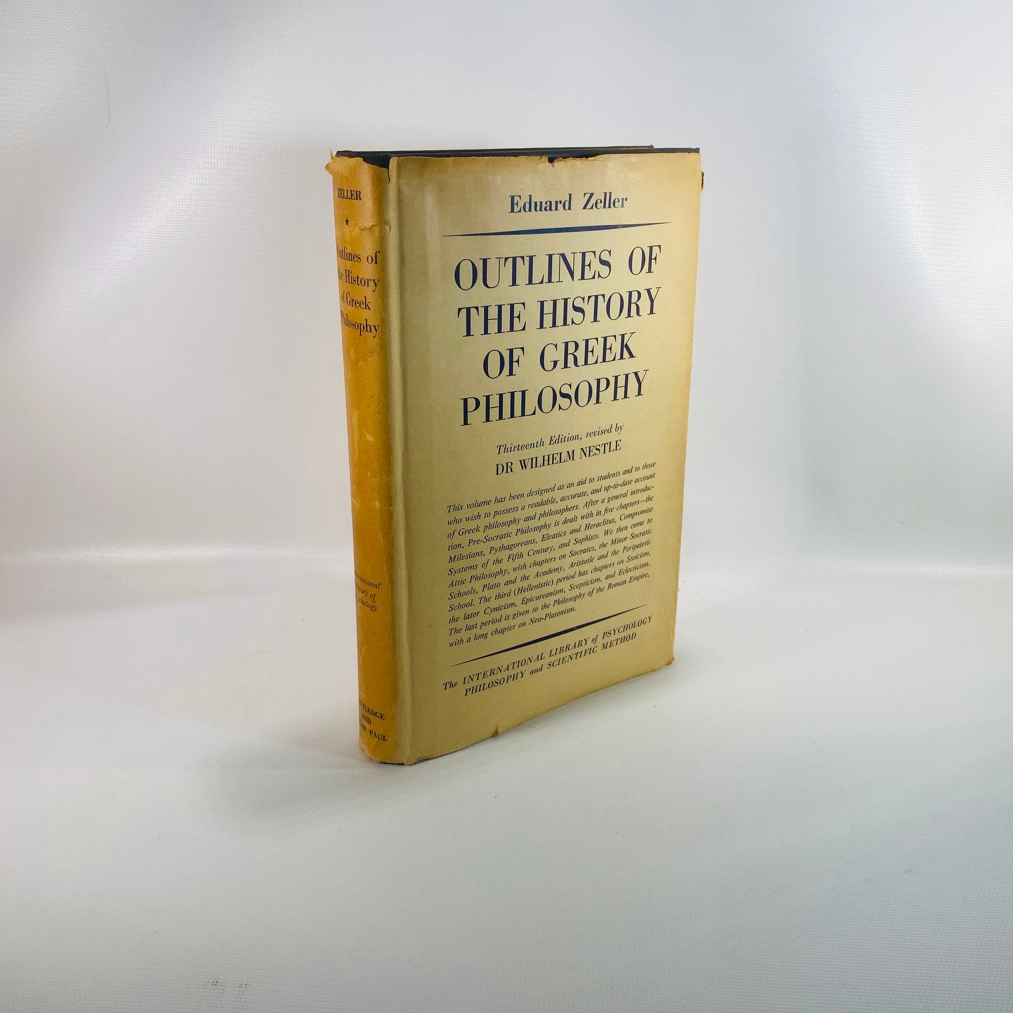 Outlines of The History of Greek Philosophy by Eduard Zeller 1963