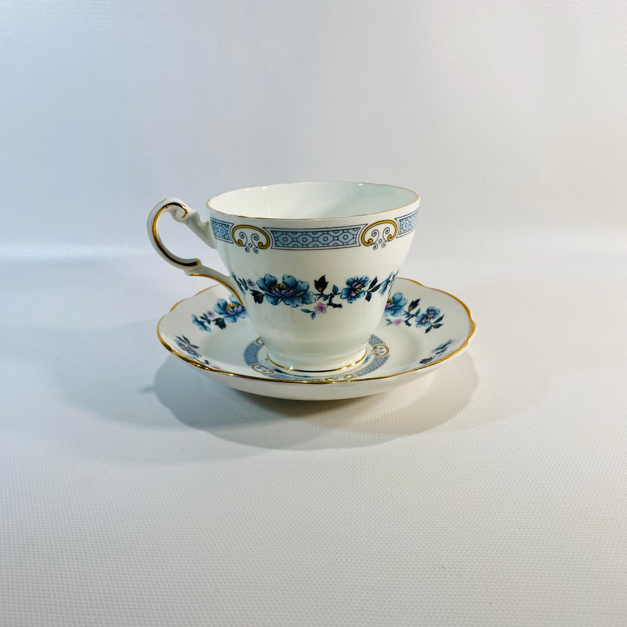 English Blue Floral Regency English Bone China Cup & Saucer-Reading Vintage
