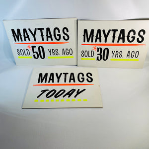 3 Maytag Old Hardware Store Advertising Signs-Reading Vintage
